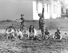Planting the garden at Spaulding, 1969.